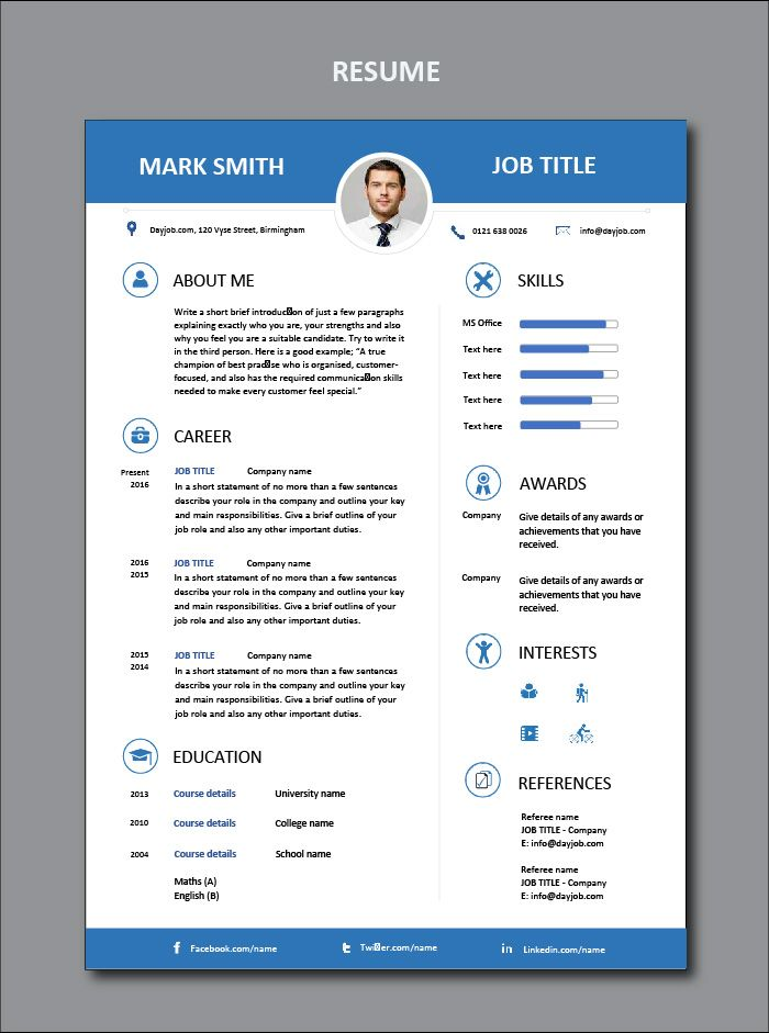 Resume Example Cv Sample Format Layout Design Microsoft Cv