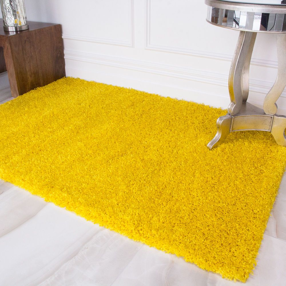 New Soft Non Shed Yellow Lemon Shaggy Rugs Warm Fluffy Cosy Rugs