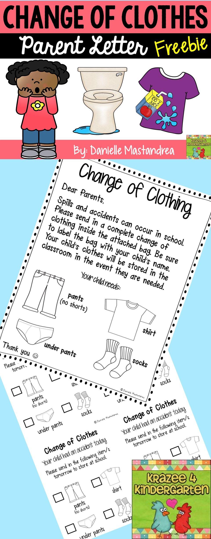Change of Clothing Parent Letter FREEBIE Pre k