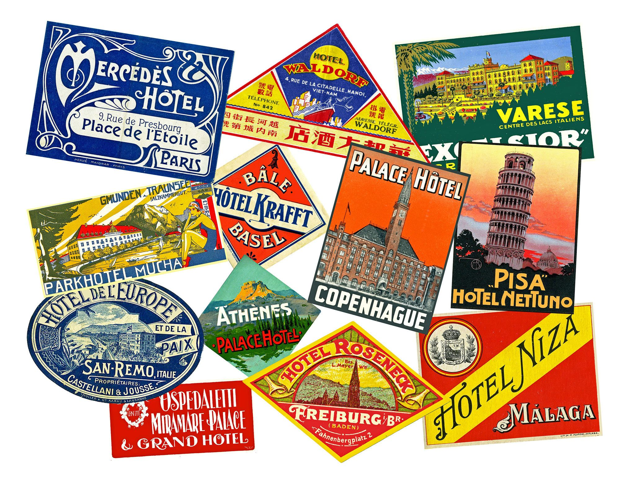 12 pcs Travel Stickers Hotel Luggage Labels 1 Sheet Baggage Tags