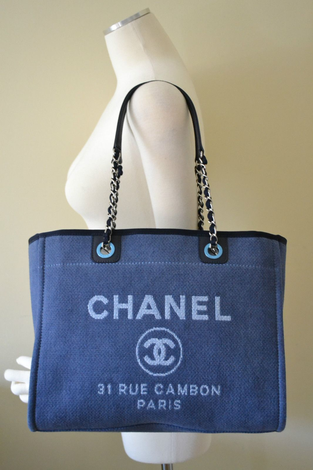 188596ef2fe6 CHANEL NWT 2012 Coco Deauville Denim Blue Medium Chain Tote Bag New Purse  Summer $2500 @LifeProof #LifeProofBlue