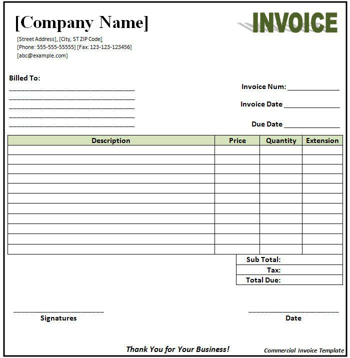 Invoice Format Template Free Word Pdf Documents