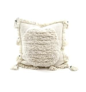 This handmade boho pillow will add character to any space.  Made from cotton making it extremely soft and cozy!  Dimensions: 17