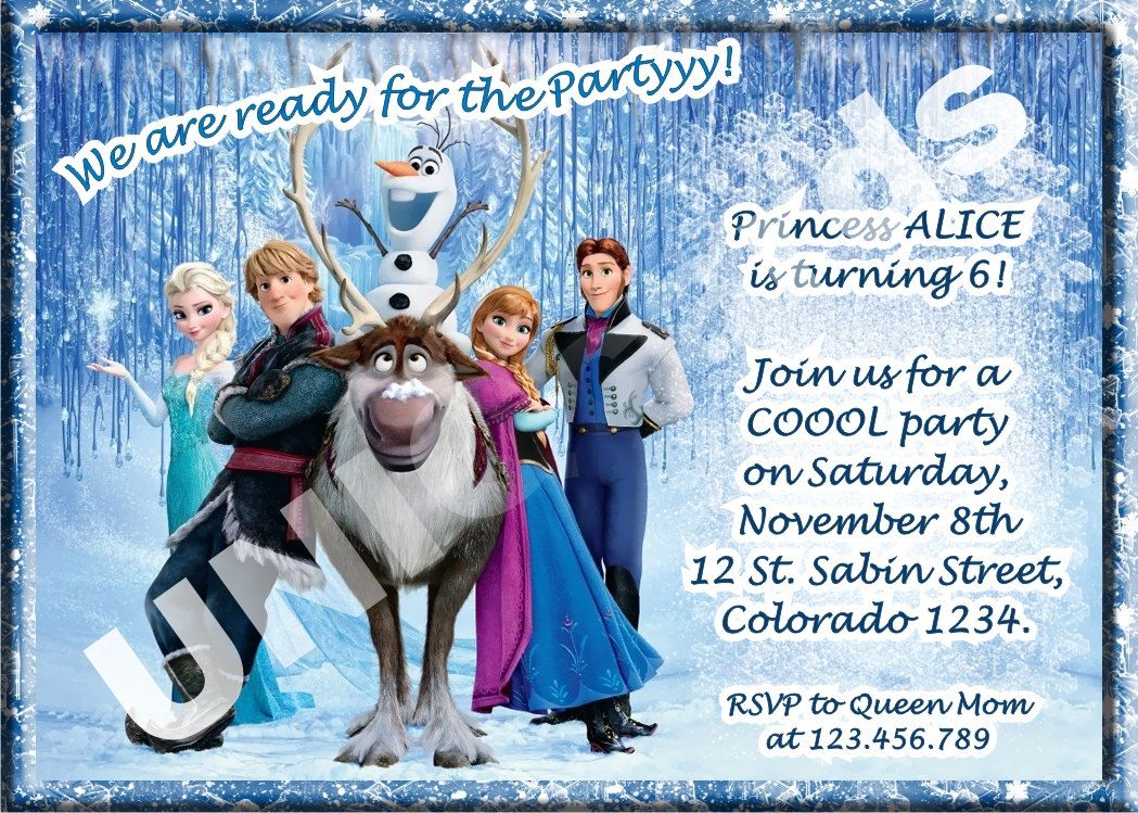 Free Disney Frozen Birthday Invitations ~ Disney frozen invitation frozen birthday invitation by uniqcards