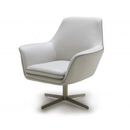 A 832 White Modern Leather Swivel Lounge Chair 790 0000