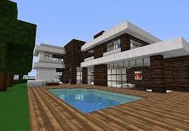 Dark Oak And Quartz Block Modern House With A Swimming Pool