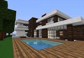 Dark oak and quartz block modern house with a swimming pool