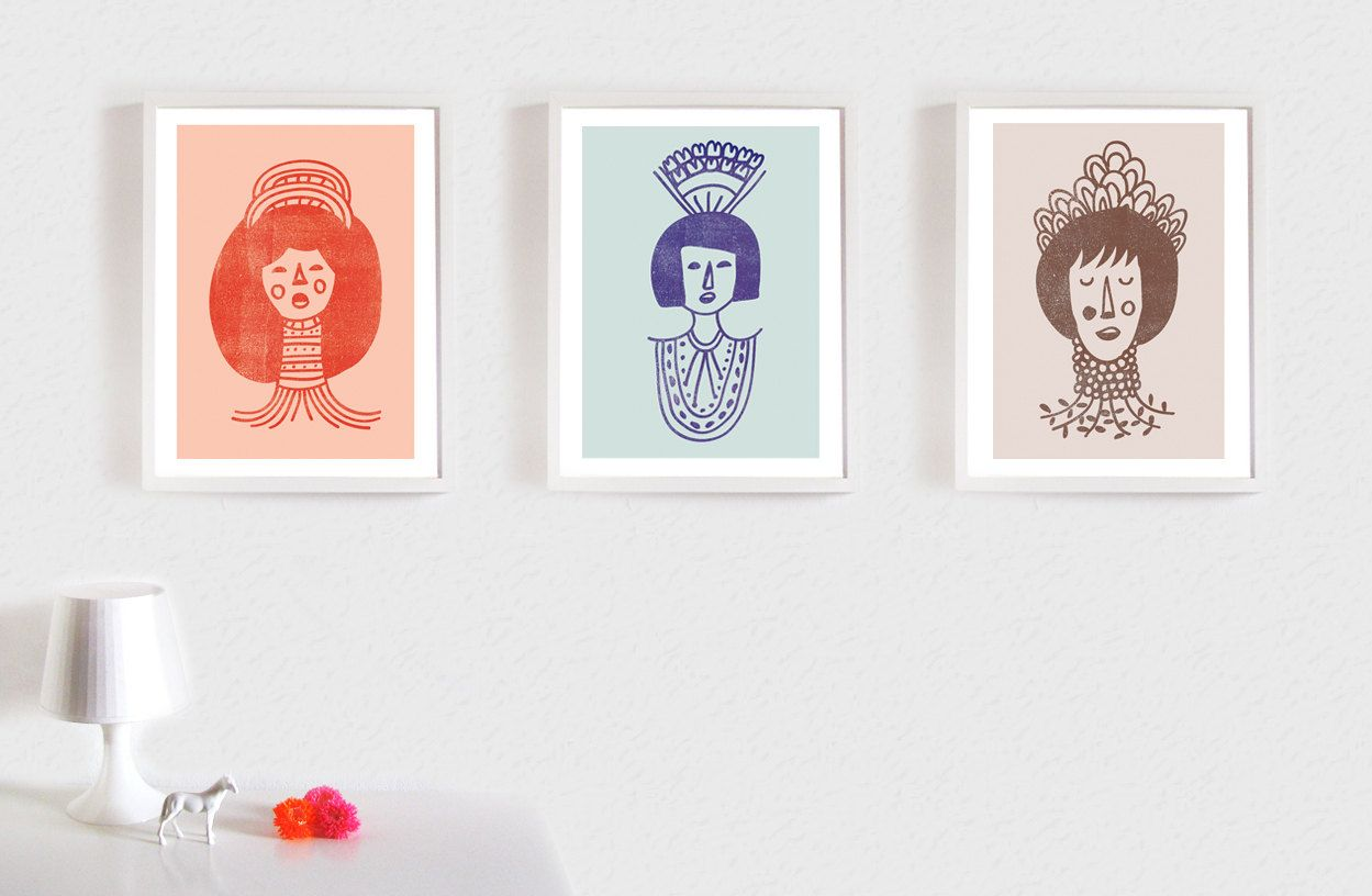 NEW Collection of three Prints I Women with Ornaments. $68.00, via Etsy.