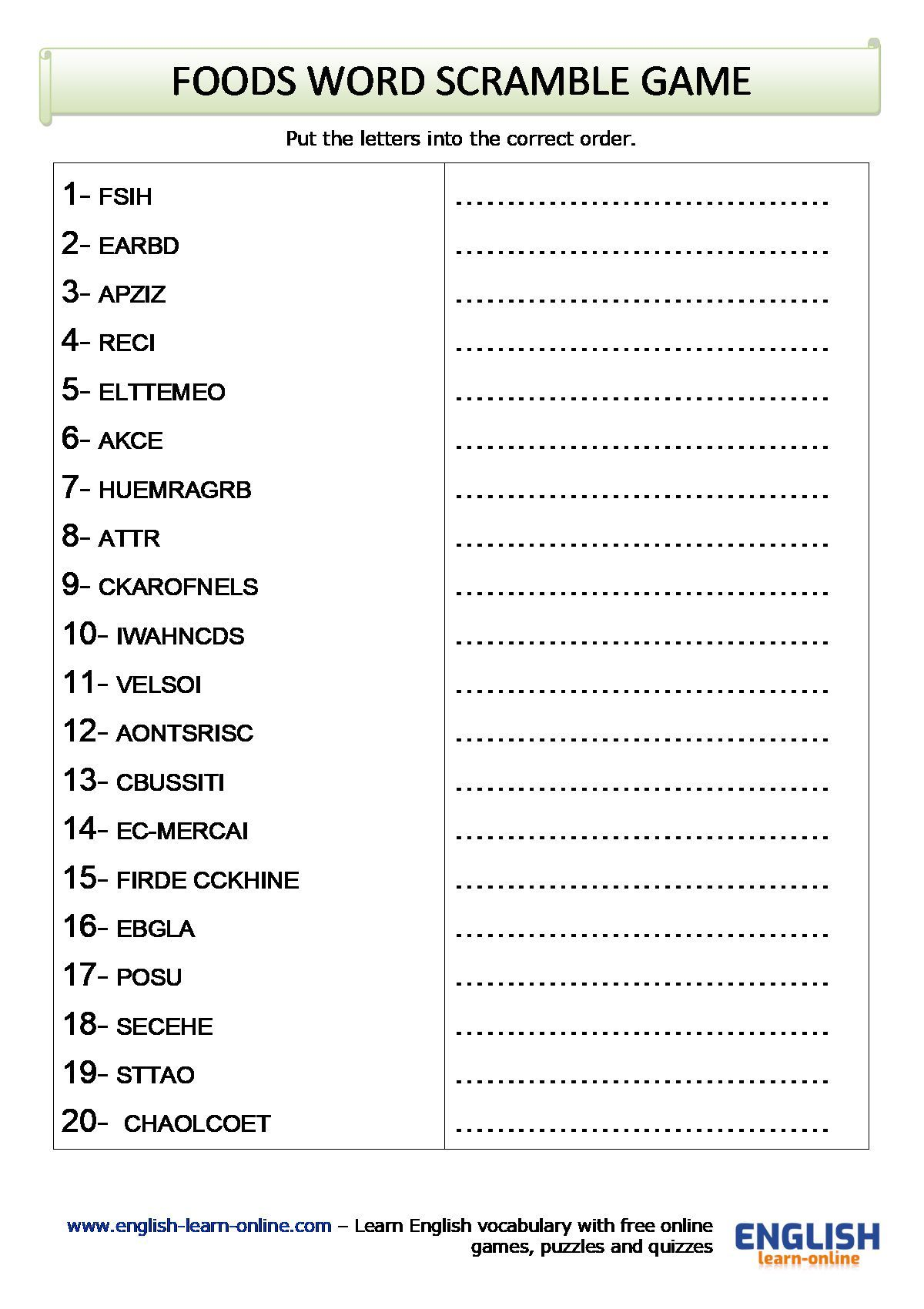 Foods Vocabulary Word Scramble Game Worksheet In