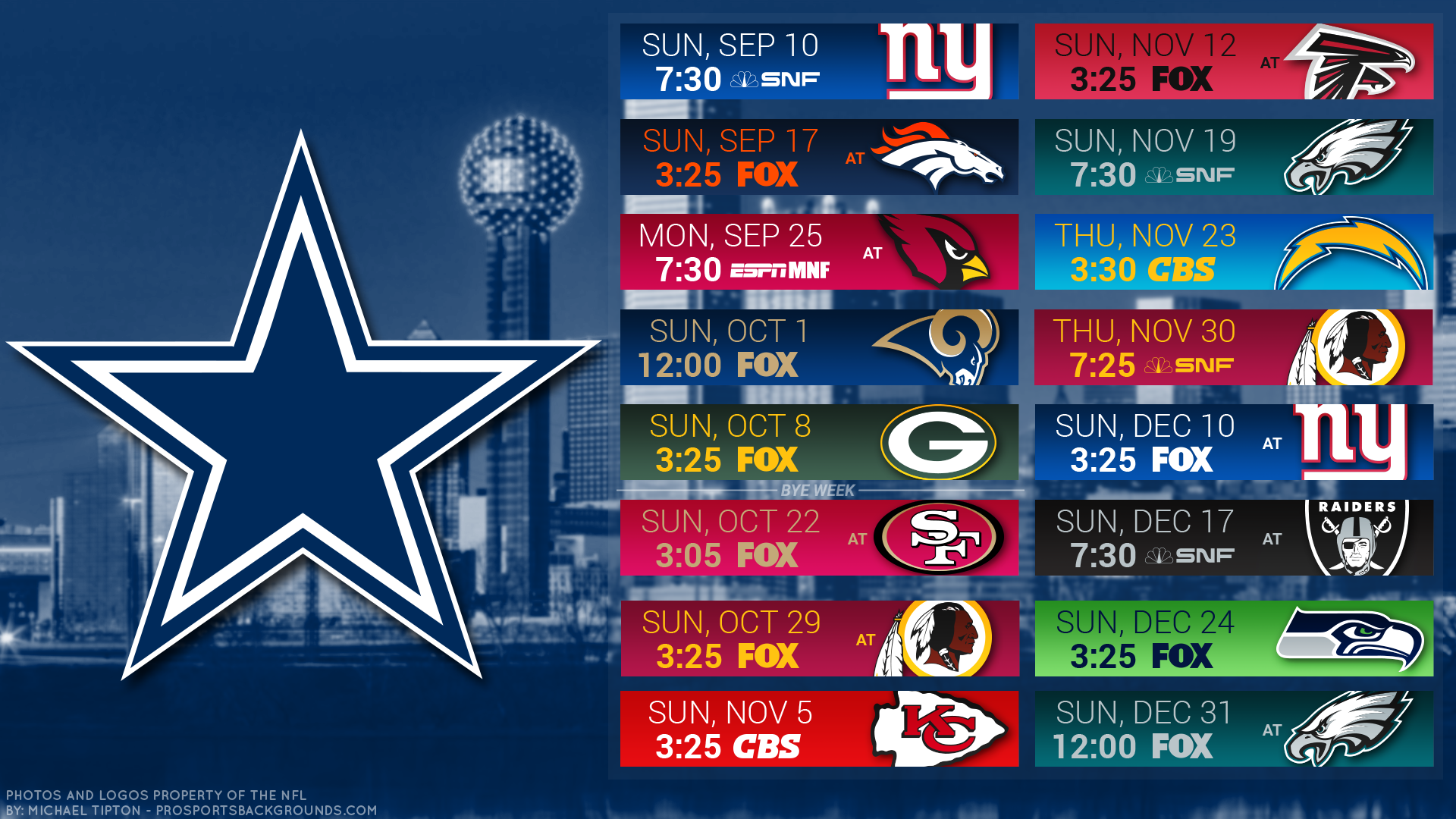 Dallas Cowboys Schedule Desktop Wallpaper 2018 Dallas Cowboys