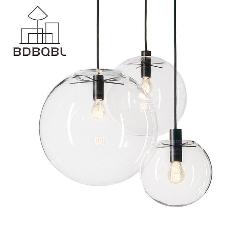 Transparent Glass Ball Lamp Restaurant Bar Modern Minimalist