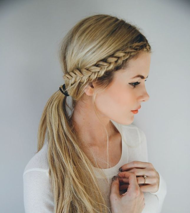 Front Braid With A Low Pony Hairstyles Hair Styles Hair Braids