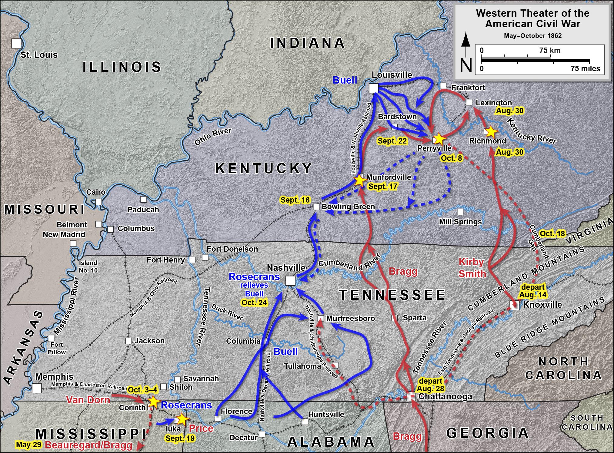 General Braxton Bragg Map Of The Kentucky Invasion Of Cs General Braxton Bragg