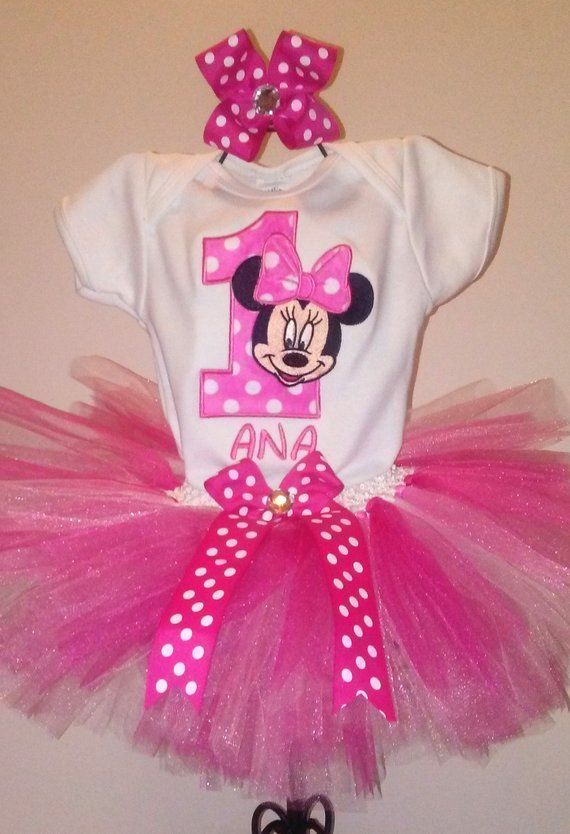 140817655 Hot Pink Minnie Mouse 1st Birthday Outfit Pink Minnie Mouse Birthday Outfit  Minnie Mouse 1st Birthda