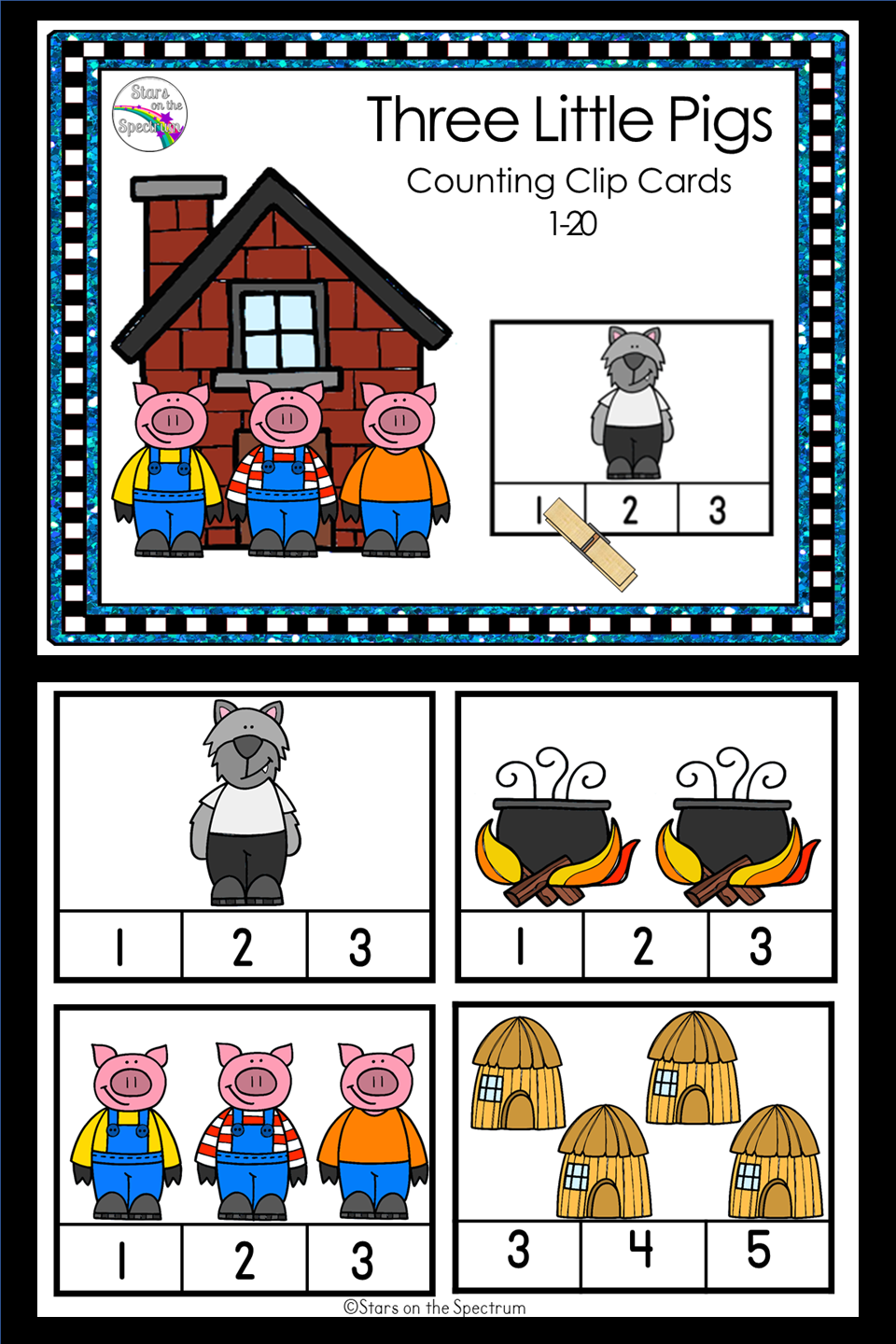 Three Little Pigs Counting Clip Cards 1 20 Little Pigs Three Little Pigs Counting Clip Cards [ 1440 x 960 Pixel ]