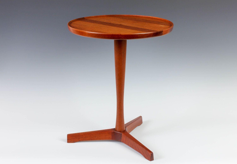 Hans C. Andersen Danish Modern Occasional Table   Teak Pedestal   Made In  Denmark   Mid Century Design   Free Shipping