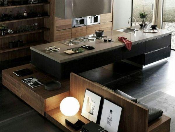 Terra Design Moderne Küche Holz überlappende Sitzbank Kochinsel | Küche |  Pinterest | Moderne Küche, Moderne Kuchen Und Küche Holz