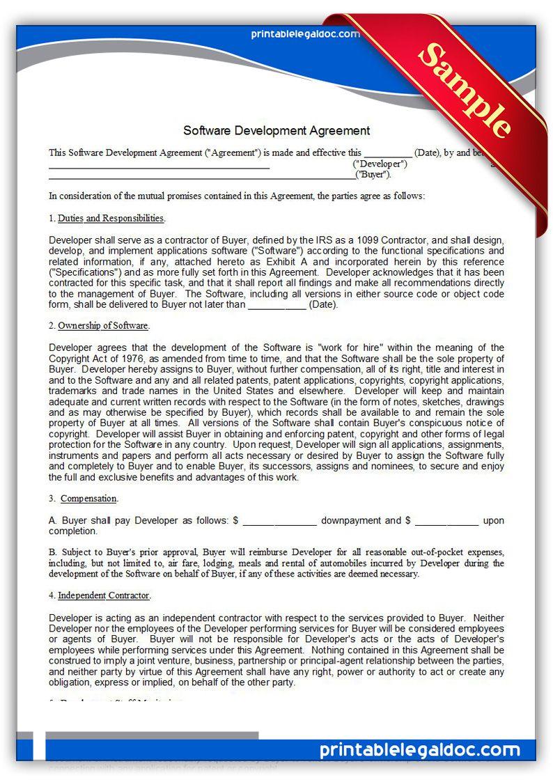 Printable Software Development Agreement Template Software Development Contract Template Legal Forms
