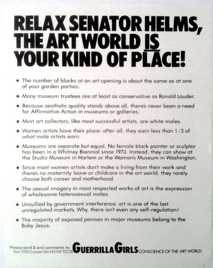 13 Works That Made The Art World A Better Place For Women Guerrilla Girls Art World Guerrilla