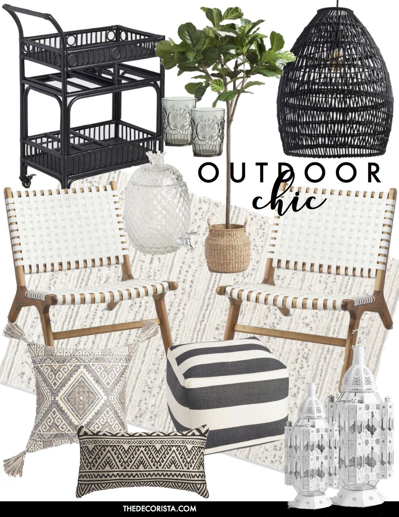 Outdoor Chic Black And White Bohemian Glamour Patio Decor Home