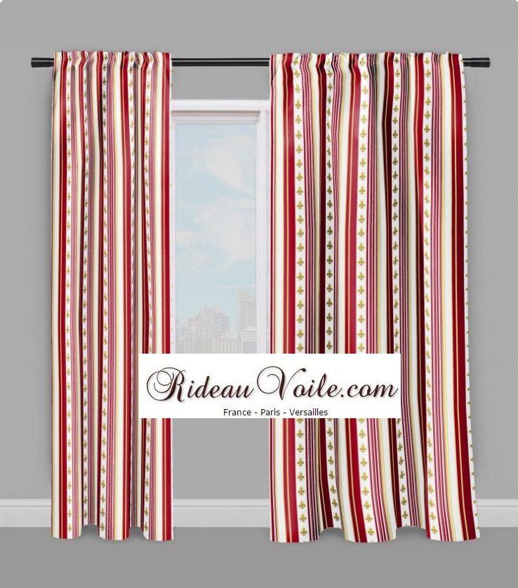 Fleur de Lys or style Empire tissu rayés rideau rouge #tissu ...
