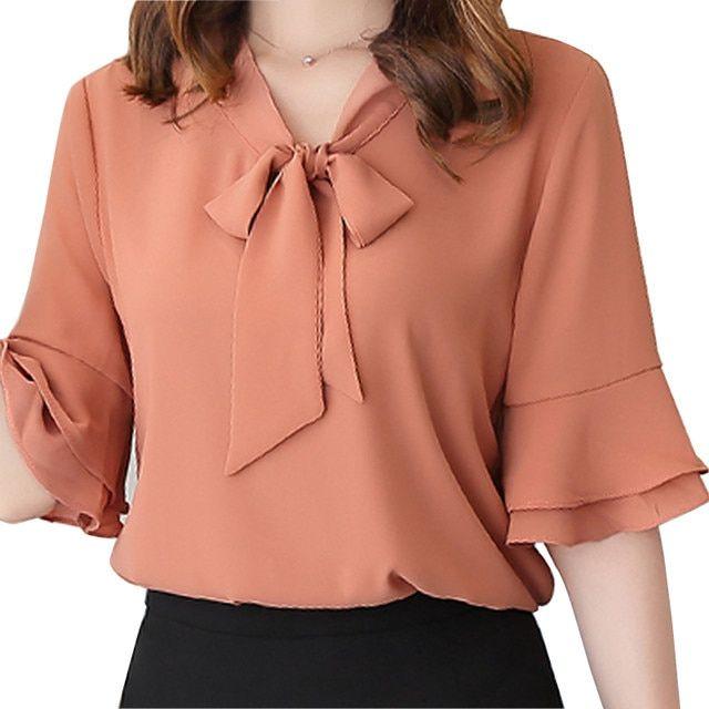 Mara Alee camisas Das Mulheres blusas de chiffon branco rosa amarela sino luva das senhoras blusas de manga curta verão tops blusas WE303 #chiffonshorts
