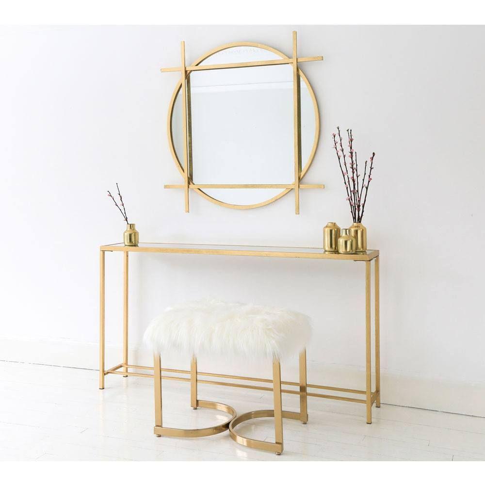 Super Slim Mirrored Console Table Gold Hall