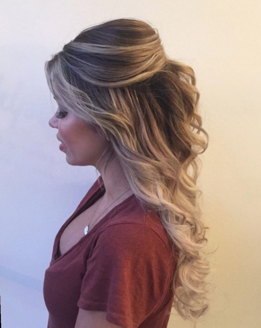 Prom Hairstyles For Long Hair And Strapless Dress