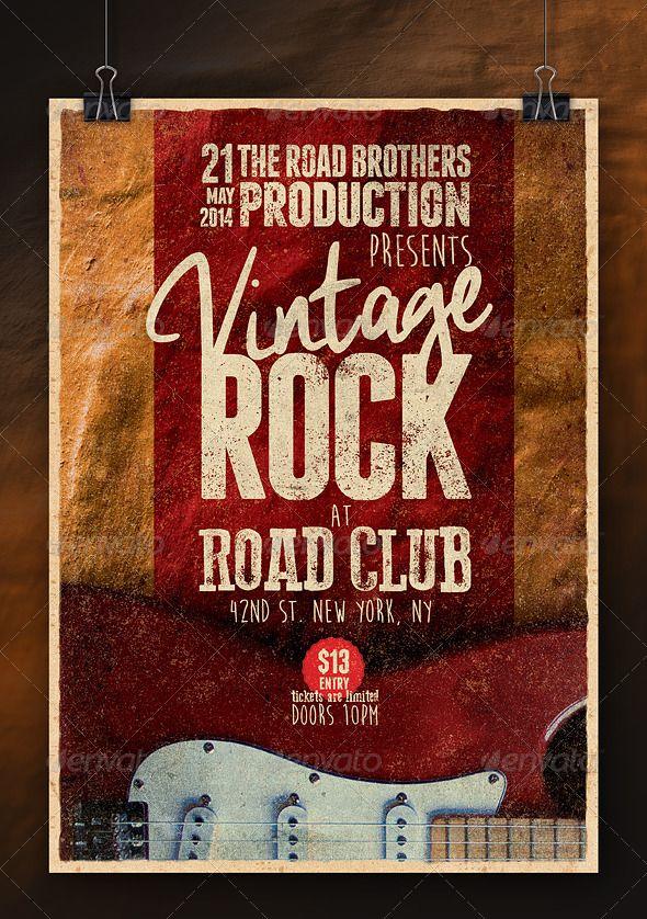 Vintage Rock Poster Vol2 Vintage rock, Concert flyer and Flyer - retro brochure template