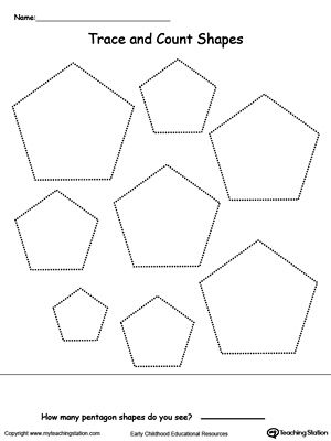Trace And Count Pentagon Shapes Pre K And Kindergarten