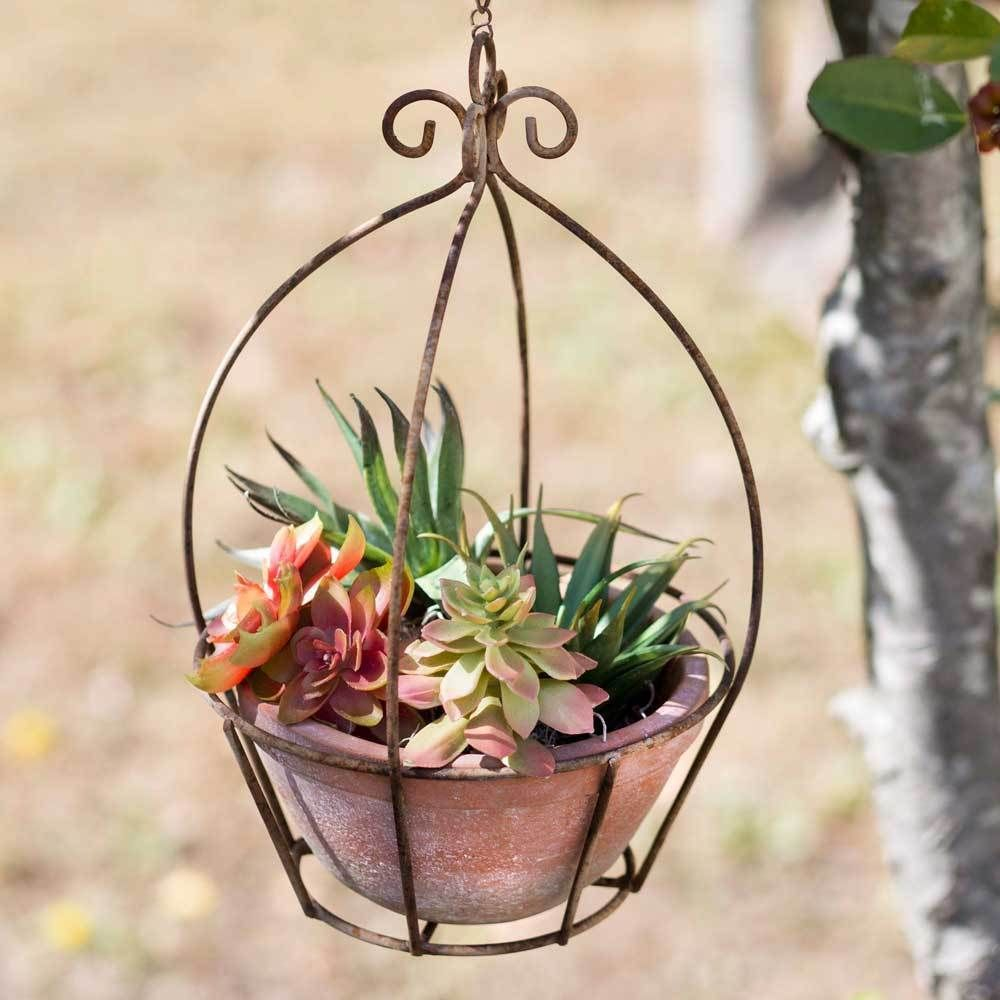 Weathered Rustic Grayson Cast Iron Hanging Planter Includes Homemade Pot Colonialtin Hanging Planters Outdoor Hanging Planters Planters
