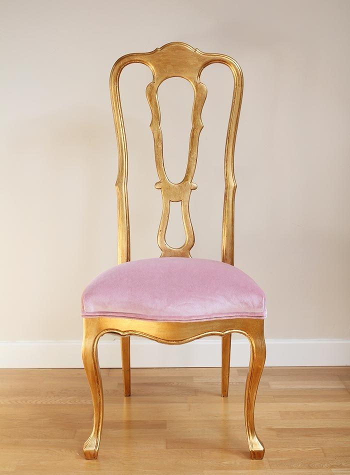 Silla dorada respaldo alto home ideas sillas sillas for Sillas comedor clasicas tapizadas