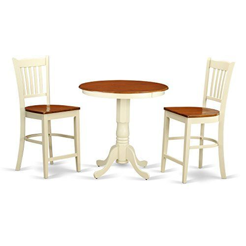 East West Furniture EDGR3-WHI-W 3 Piece High Top Table and 2 Counter
