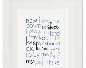 Now I Lay Me Down To Sleep Wall Quotes Now I Lay Me Down To Sleep Art Print Song Lyrics Baby Gift For Boy Wall Art Baby Girl Nursery