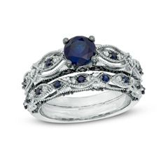 Fine Jewelry Womens 1/10 CT. T.W. Lab Created Blue Sapphire 10K Gold Cocktail Ring TTOIKTOn