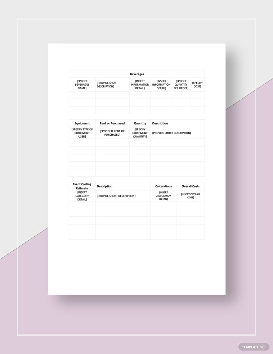 Catering Event Worksheet Template Word Excel Google Docs Apple Pages Google Sheets Apple Numbers In 2020 Worksheet Template Word Doc Lettering