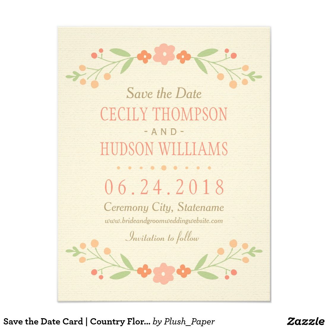 Save the Date Card | Country Floral Flower Peach Orange Pink Wedding Invitation Announcement