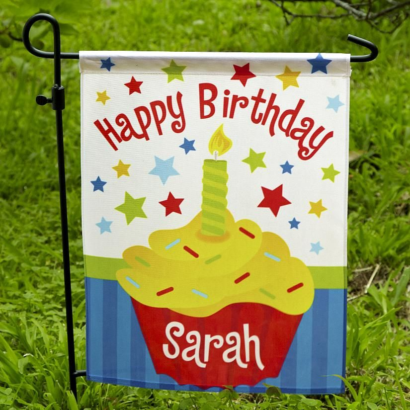 Birthday Cupcake Garden Flag Personalised 1st birthday