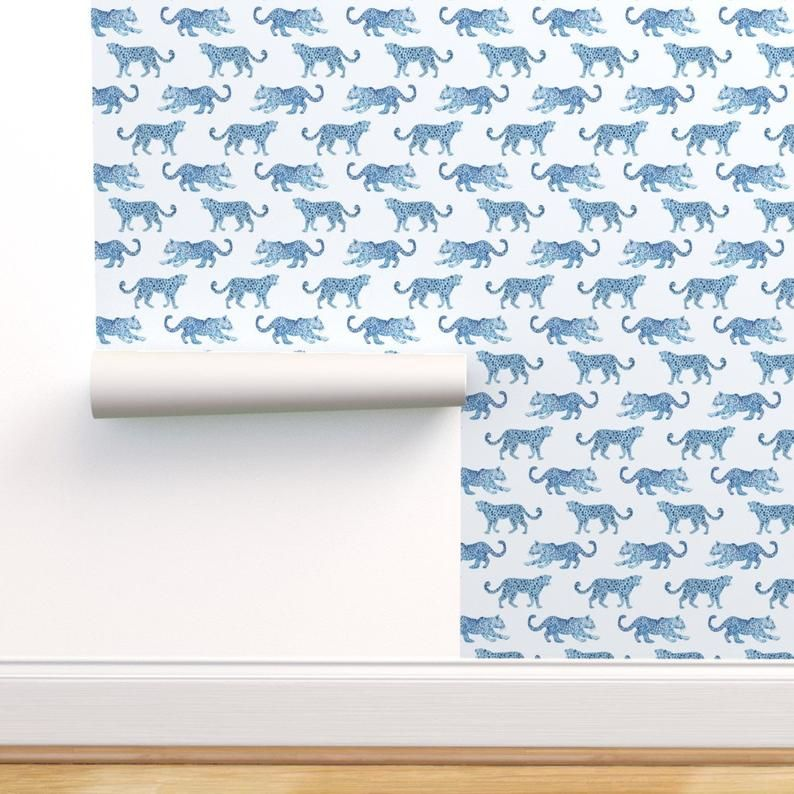 Leopards Wallpaper Leopard Parade Blue On White By Danika Etsy Removable Wallpaper Leopard Wallpaper Wallpaper