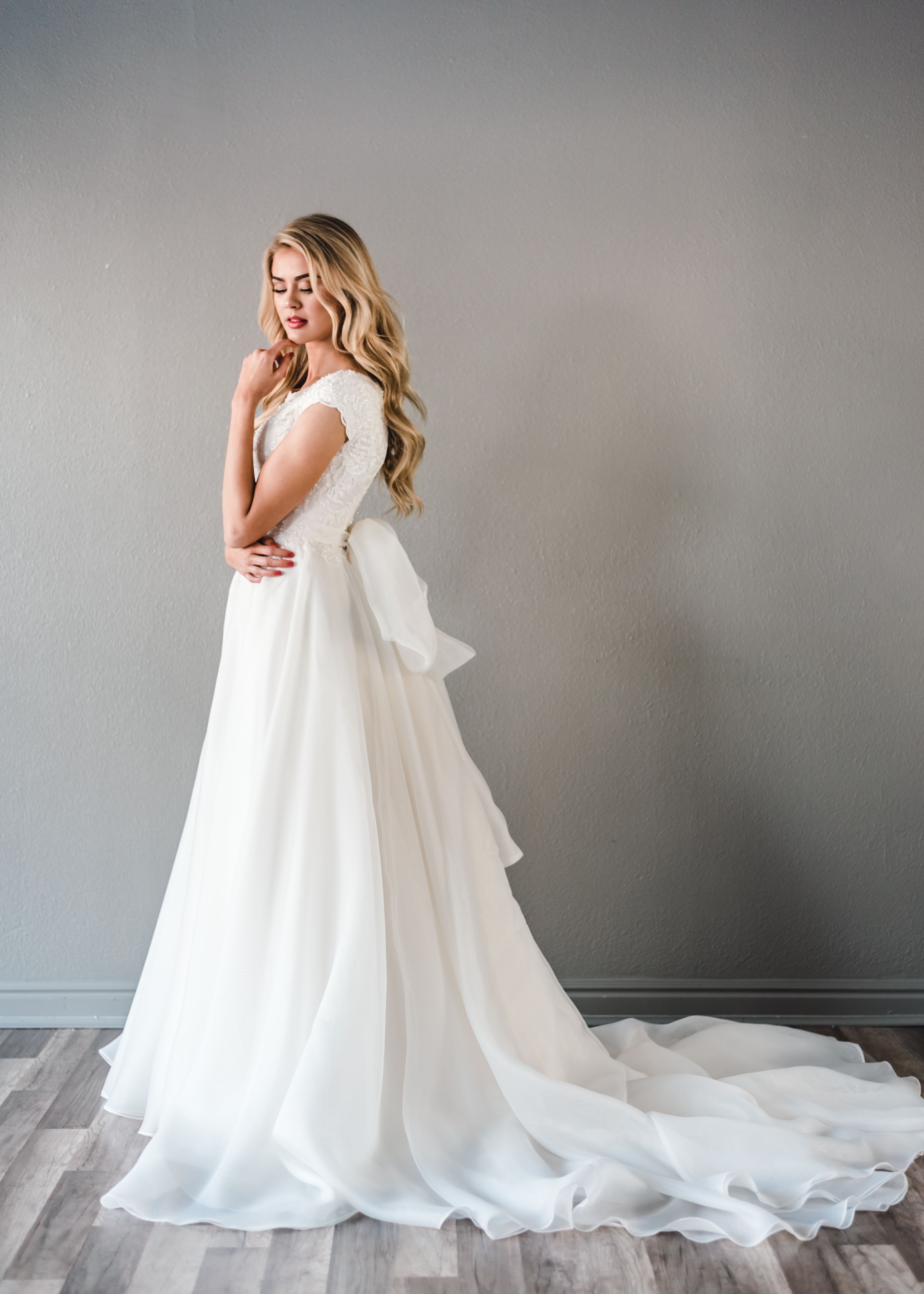 Astrid Gown Diamonds In The Sky Collection By Elizabeth Cooper Design Be Short Sleeve Wedding Dress Modest Wedding Dresses Ball Gown Wedding Dress Silhouette