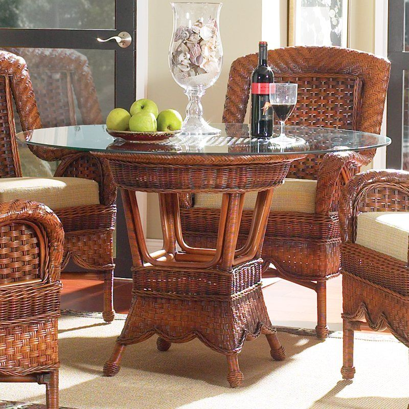 Autumn morning 48in round dining table wicker dining