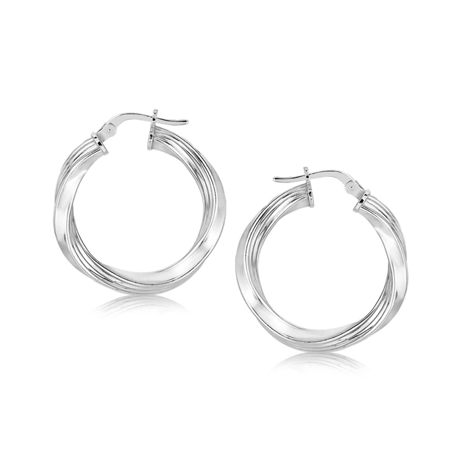 snap back round silver hoop flat earrings sterling l