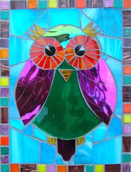 owl stained glass window