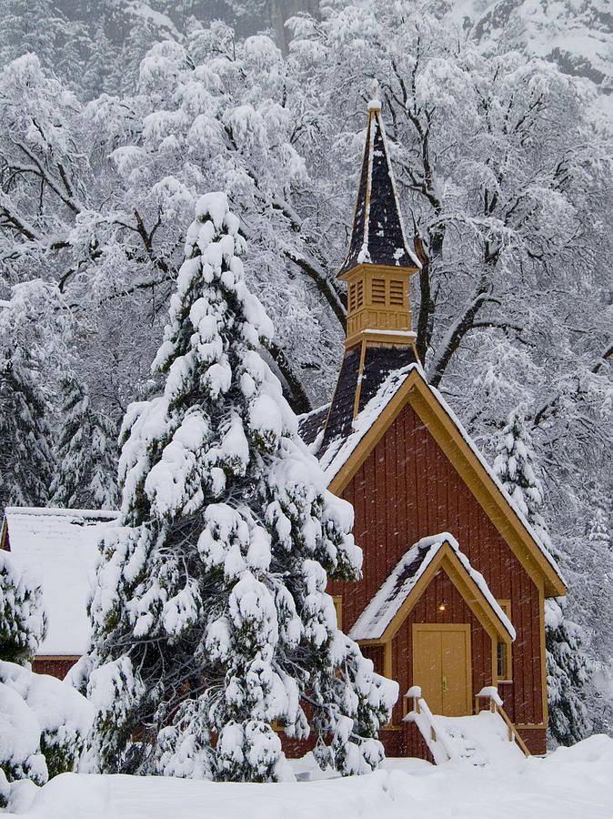 Yosemite Chapel In Winter, Yosemite National Park