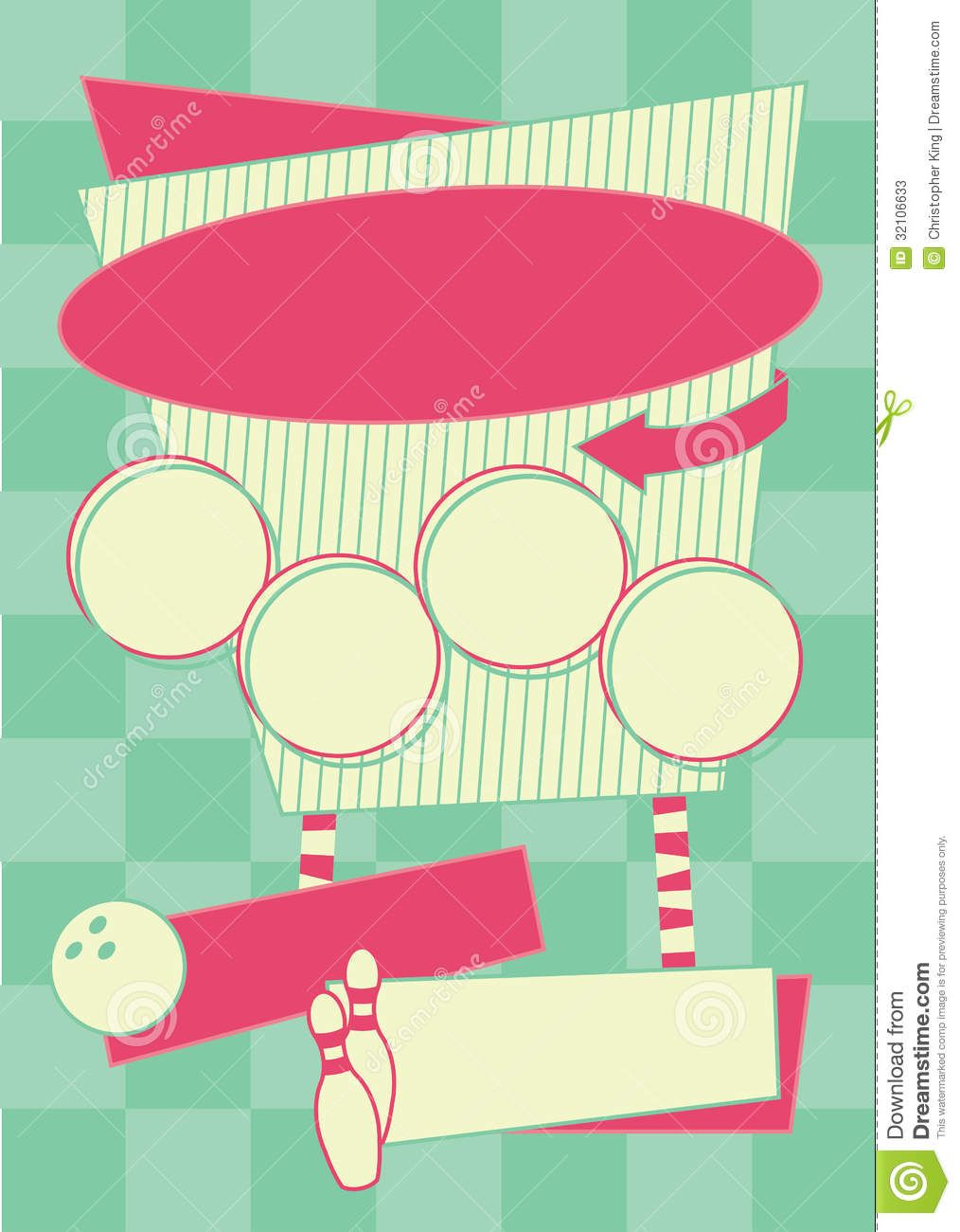 1950s Bowling Style Background And Frame Stock Photos - Image ...