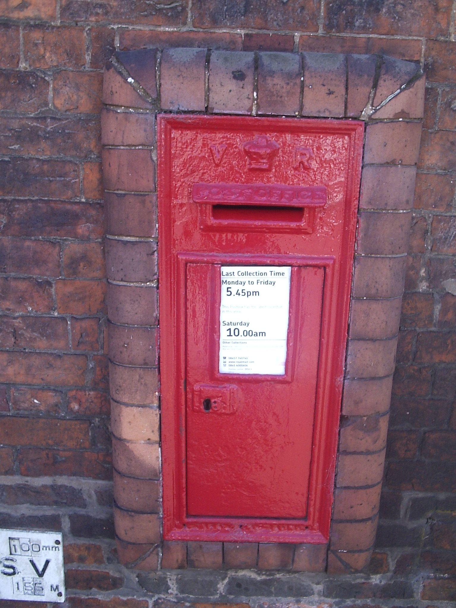 A V1 Wallbox Text Post Office Antique Mailbox Wall Boxes Post Box