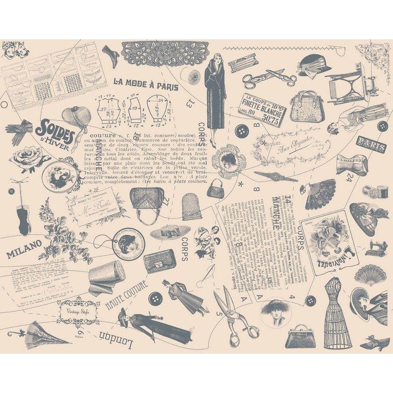 Papel decorativo para pegar mod sewing, para decorar, cajas, velas, armarios con un aire vintage