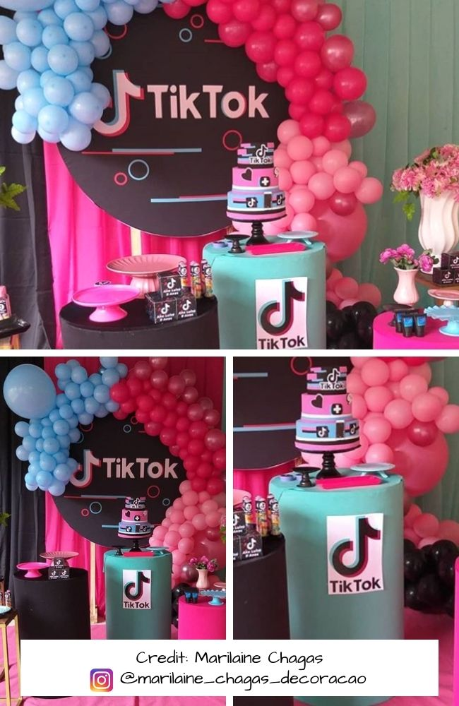 Tiktok Themed Party Collection Real Party Photos In 2021 Hotel Birthday Parties Party Themes Birthday Party Decorations