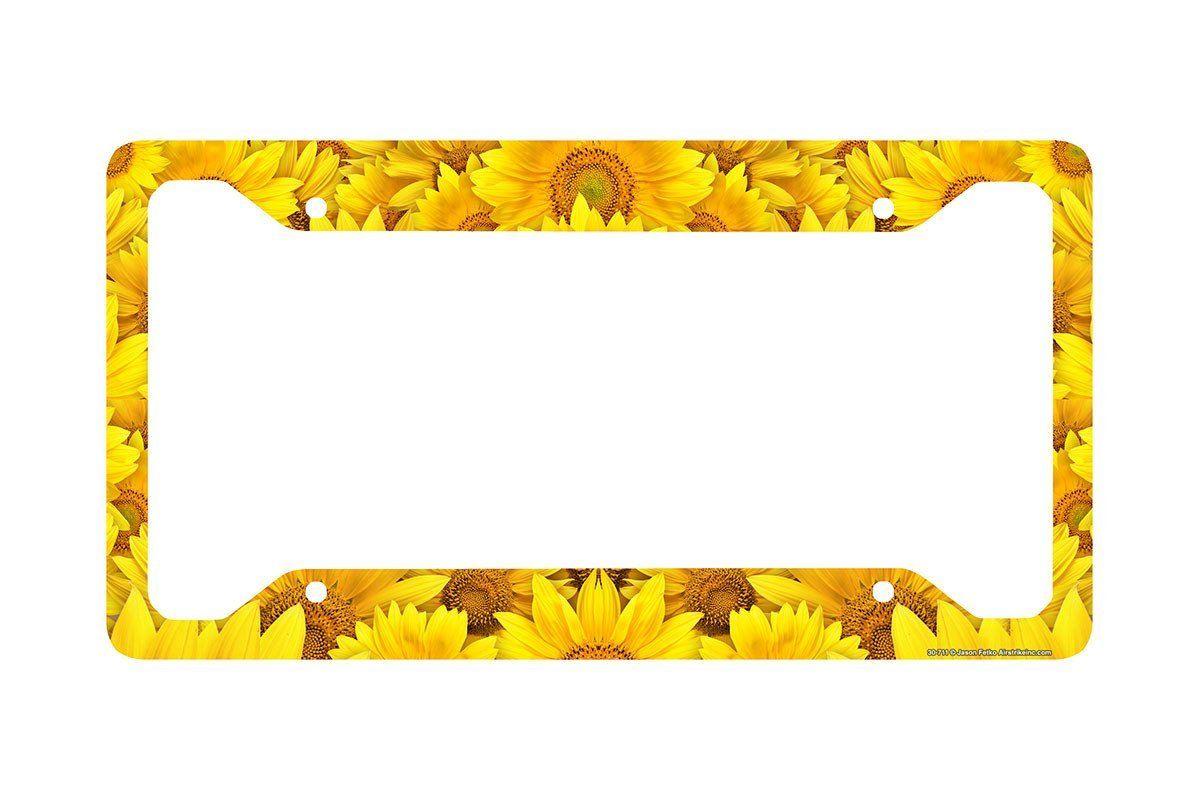 Sunflower License Plate Frame, Sunflower Car Tag Frame, Sunflowers ...