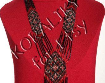 Black /Red /Gold. Traditional Ukrainian Folk Handmade Glass Beaded NECKLACE Long Gerdan.